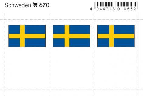 6 x LINDNER 670 Schweden Flaggensticker Flaggen Signetten Sets zum aufkleben oder einstecken - Vorschau 1