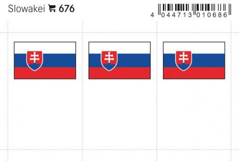 6 x LINDNER 676 Slowakei Flaggensticker Flaggen Signetten Sets zum aufkleben oder einstecken - Vorschau 1