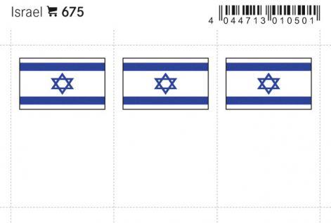 6 x LINDNER 675 Israel Flaggensticker Flaggen Signetten Sets zum aufkleben oder einstecken - Vorschau 1