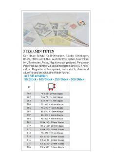 500 x LINDNER 706 - Pergamintüten Pergaminbeutel Pergamintaschen 85 x 117 mm + 16 mm Klappe für Briefmarken Pillen Samen Münzen - Vorschau 2