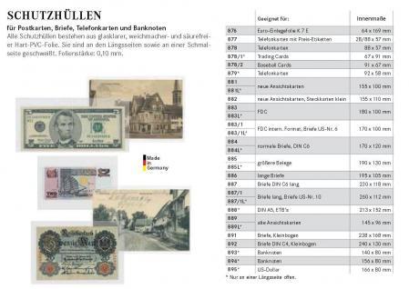 100 x LINDNER 885LP Schutzhüllen Hüllen Banknotenhüllen 190 x 130 mm Ideal für Banknoten Briefe große Belege - Vorschau 3