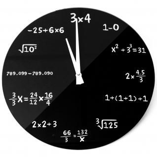 ALSS - Moderne Glas Mathematik Uhr Wanduhr Matheuhr Formeln Rechenaufgaben statt Zahlen