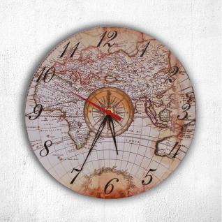 SAFE 73643 Wanduhr Vintage Retro Antik Historische Weltkarte im Kompass Seefahrer Globus Look Collection