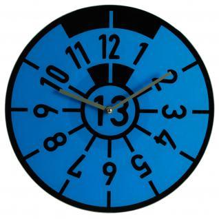 WANDUHR HU TÜV PLAKETTE PRÜFPLAKETTE GLAS BLAU - Uhr für Garage - Werkstatt - Auto - Hobbyraum - Rennsport Fans
