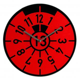 WANDUHR HU TÜV PLAKETTE PRÜFPLAKETTE GLAS ROT - Uhr für Garage - Werkstatt - Auto - Hobbyraum - Rennsport Fans