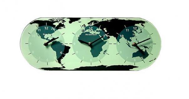 BÖRSEN & BANKEN WELTZEIT - WORLD TIME WANDUHR UHR NEW YORK - AMSTERDAM - TOKYO WELTZEITUHR MIT 3 ZEITZONEN UHRWERKEN GLOBUS