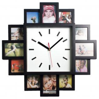 XXL Schwarze Bilderuhr Fotouhr Bilderahmen Wanduhr Fotogallerie Galerie Uhr für 12 Fotos Bilder