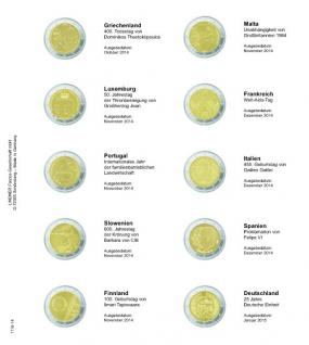 1 x LINDNER 1118-14 Vordruckblatt + K3 Karat Blatt - 2 EURO Gedenkmünzen chronologisch Griechenland ab Oktober 2014 - Deutschland Januar 2015