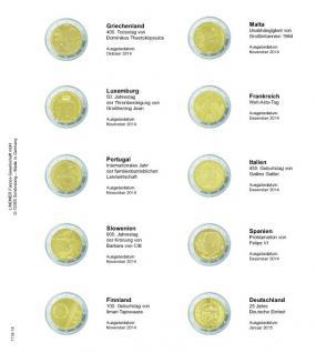 1 x LINDNER 1118-15 Vordruckblatt + K3 Karat Blatt - 2 EURO Gedenkmünzen chronologisch Griechenland 30 Kahre Euro Flagge