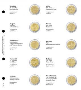 1 x LINDNER 1118-13 Vordruckblatt + K3 Karat Blatt - 2 EURO Gedenkmünzen chronologisch Slowakei April 2014 - Griechenland 2014