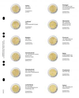 1 x LINDNER MU2E12 Multi Collect Münzblätter Münzhüllen Vordruckblatt 2 Euro Gedenkmünzen Italien Juli 2014 - Italien Dezember 2014