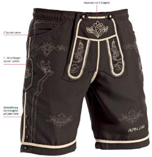 ALPIN Bayrische Trachten Badehose Trachten Shorts Badeshorts Lederhosen Optik Herren Gr 48 - 50 M