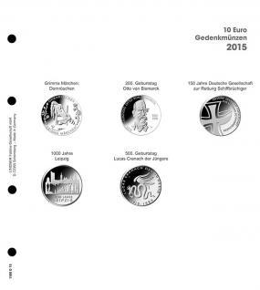 1 x LINDNER 1108D15 Einzelblatt Ergänzungsblätter K2 + Vordruckblatt 10 Euro Münzen Deutschland 2015