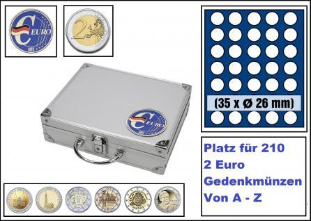 SAFE 279-3 ALU Münzkoffer SMART Deutschland 3D Plakette + 6x 6326 Tableaus mit 35 Runden Fächern Für 210 Münzen Ideal für 2 Euro Gedenkmünzen