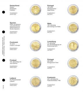 1 x LINDNER 1118-16 Vordruckblatt + K3 Karat Blatt - 2 EURO Gedenkmünzen chronologisch Januar 2015 - Juli 2015
