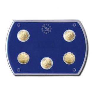 """SAFE 7902 Glasklare Stapelbare Acryl Münzetuis Münzenetuis Münz Etuis"""" Vista Libra Blau """" für 5 x 2 Euro Gedenkmünzen Sondermünzen"""
