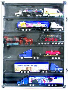 SAFE 5874 ALU Sammelvitrinen Vitrinen Setzkasten mit 6 Fächern 275 x 57 mm Ideal für LEGO Trucks Minifiguren Star Wars - Hobbit - Classic - Princess - Piraten - Speed usw.