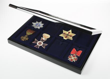 SAFE 5926 Schwarze Sammelvitrine Vitrinen Setzkasten Klavierlackoptik mit 8 Fächern für Militaria & Orden & Antiquitäten