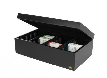 SAFE 7906 Edle Schwarze Holz - Schatulle Münzbox Münzkassette 20 Fächer für Münzetuis 70 x 70 x 27 mm - Ideal für Deutsche 1 DM Gold - 20 / 100 / 200 Goldeuro