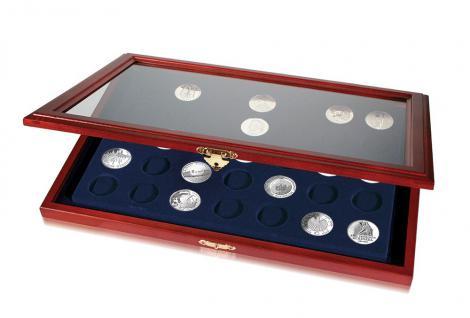 SAFE 5867 Echt Holz Münzvitrinen Vitrinen 24 x 10 & 20 Euromünzen in Münzkapseln bis 32, 5 PP oder für Münzen bis 37, 5 mm