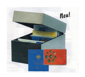 SAFE 746 Schwarze Holz Schatulle Münzbox für bis zu 40 Münzensets 165 x 155 mm Für alle Deutschen 10 & 20 Euro Münzen Gedenkmünzen PP Set's
