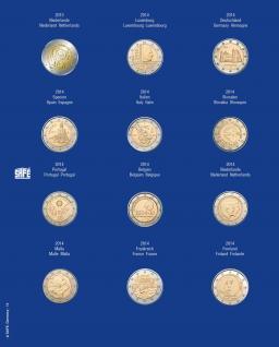 1 x SAFE 7302-14 TOPset Münzblätter Ergänzungsblätter Münzhüllen mit farbigem Vordruckblatt für 2 Euromünzen Gedenkmünzen in Münzkapseln 26 - 2013 - 2014