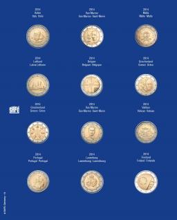 1 x SAFE 7302-15 TOPset Münzblätter Ergänzungsblätter Münzhüllen mit farbigem Vordruckblatt für 2 Euromünzen Gedenkmünzen in Münzkapseln 26 - 2014