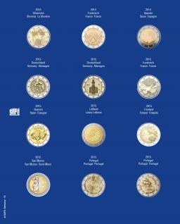 1 x SAFE 7302-16 TOPset Münzblätter Ergänzungsblätter Münzhüllen mit farbigem Vordruckblatt für 2 Euromünzen Gedenkmünzen in Münzkapseln 26 - 2014 - 2015 - Vorschau 1