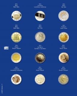 1 x SAFE 7302-17 TOPset Münzblätter Ergänzungsblätter Münzhüllen mit farbigem Vordruckblatt für 2 Euromünzen Gedenkmünzen in Münzkapseln 26 - 2015