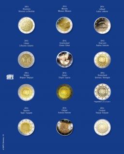 1 x SAFE 7302-18 TOPset Münzblätter Ergänzungsblätter Münzhüllen mit farbigem Vordruckblatt für 2 Euromünzen Gedenkmünzen in Münzkapseln 26 - 2015