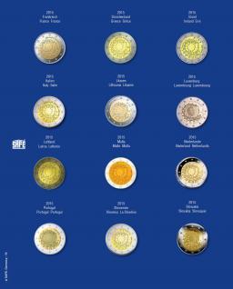 1 x SAFE 7302-19 TOPset Münzblätter Ergänzungsblätter Münzhüllen mit farbigem Vordruckblatt für 2 Euromünzen Gedenkmünzen in Münzkapseln 26 - 2015