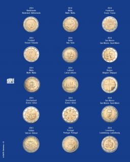 1 x SAFE 7822-12 TOPset Münzblätter Ergänzungsblätter Münzhüllen Münzblatt mit farbigem Vordruckblatt für 2 Euromünzen Gedenkmünzen 2014 - Vorschau 1