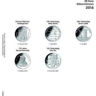 1 x LINDNER 1520-16 Münzhüllen Münzblätter Ergänzungsblätter K2 + Vordruckblatt 20 Euro Münzen Deutschland 2016