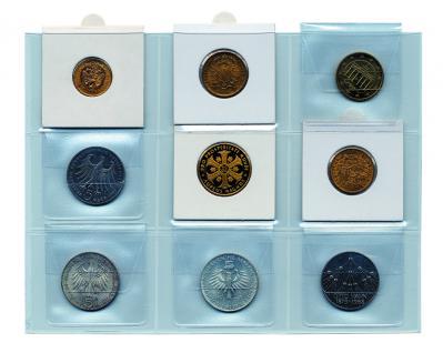 10 x SAFE 1295 Einsteckkarten Münzblätter mit 9 Taschen 50 x 50 mm für Münzrähmchen Münztaschen - Carree - Octo Münzkapseln - Leuchtturm Quadrum Münzkapseln