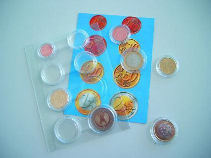 1 x SAFE 6790 Münzenkapseldisplay 8 Münzkapseln 16, 5 - 19 - 20 - 21, 5 - 22, 5 - 23, 5 - 24, 5 - 26 mm für Euro Kursmünzen Satz KMS 1, 2, 5, 10, 20, 50 Cent - 1, 22 Euro
