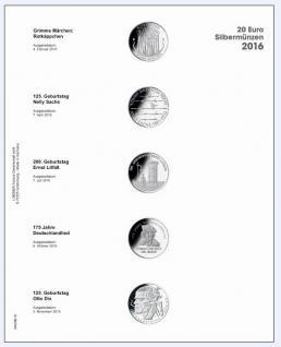 1 x LINDNER MU20E16 Multi Collect Münzblätter Münzhüllen Vordruckblatt Deutsche 20 Euro Gedenkmünzen 2016