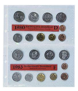 5 x SAFE 607 Coin Compact Ergänzungsblätter Spezialblätter Münzhüllen 2 Tasche 173 x 110 mm Für 2 x eingeschweiste DM KMS Kursmünzensätze