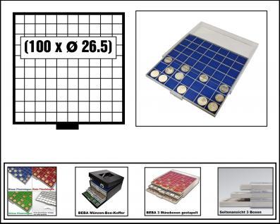 SAFE 6610-4 BEBA MÜNZBOXEN 100 quadratische Fächer 26, 5 mm + blaue Filzeinlagen Für 50 Euro Cent, 1 Euro, 2 Euro Gedenkmünzen & Münzkapseln bis Caps 20
