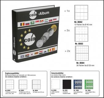 SAFE 8558 Münzalbum Designo Universal - World Coins + 5 Münzblättern - Münzhüllen Mixed Für 116 Münzen bis 40 mm
