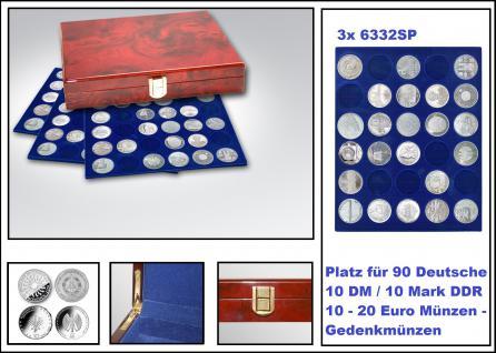 SAFE 5796 Premium WURZELHOLZ Münzkassetten 90 x Deutsche 10 DM / 10 Mark DDR / 10 - 20 Euro Münzen Gedenkmünzen