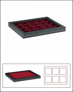 LINDNER 2367-2870E Nera M PLUS Sammelkassetten Dunkelrot Fenster 20x 47x47x18, 5mm