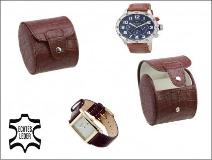 SAFE 253 Braunes Leder Reiseetui Uhren Etui UNO Reisebox für Armbanduhren Uhrenetui Uhrenbox in Kroko Optik - Vorschau 1