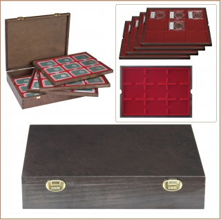 LINDNER 2494-19 CARUS Echtholz Holz Münzkassetten 4 Tableaus 36 Fächer 64 x 86 mm für original US Slabs Münzkapseln