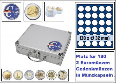 SAFE 279-4 ALU Münzkoffer SMART Deutschland 3D Plakette + 6x 6326 Tableaus mit 30 Runden Fächern Für 210 Münzen Ideal für 2 Euro Gedenkmünzen in Münzkapseln 26