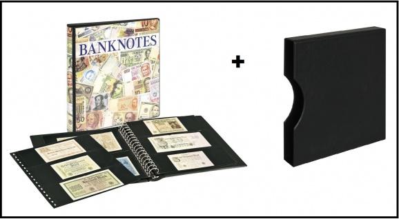 LINDNER 3701S-814 Banknotenalbum mit 10 Klarsichthüllen Mix 850 & 851 mit schwarzen Zwischenblättern + Kassette