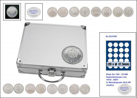 SAFE 242 ALU Länder Münzkoffer SMART BR. Deutschland 10 DM Gedenkmünzen von 1970 - 2001 Platz für 120 Münzen in Münzkapseln 32, 5 PP Randlos