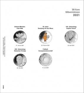 1 x LINDNER 1520-21 Münzhüllen Münzblätter Ergänzungsblätter K2 + Vordruckblatt 20 Euro Münzen Deutschland 2021