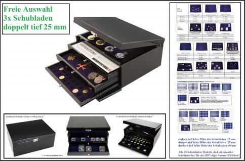 SAFE Set 6590 Schwarze Schubladen Schatulle Classic KABINETT Kassette 3x doppelt tiefe Schuber Für Mineralien - Muscheln - Uhren - US Slab Münzkapseln 100 Gold Euro Etuis Schreibgeräte FREIE WAHL
