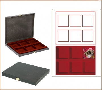 LINDNER S2491-2856E CARUS-1 Holz Sammelkassetten Dunkelrot 6x 85x85x18, 5mm