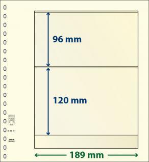 10 x LINDNER 802211P T-Blanko-Blätter Blankoblatt 18-Ring Lochung - 2 Taschen 96 / 120 x 189 mm